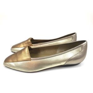 Vintage metallic leather flats by SNAP!